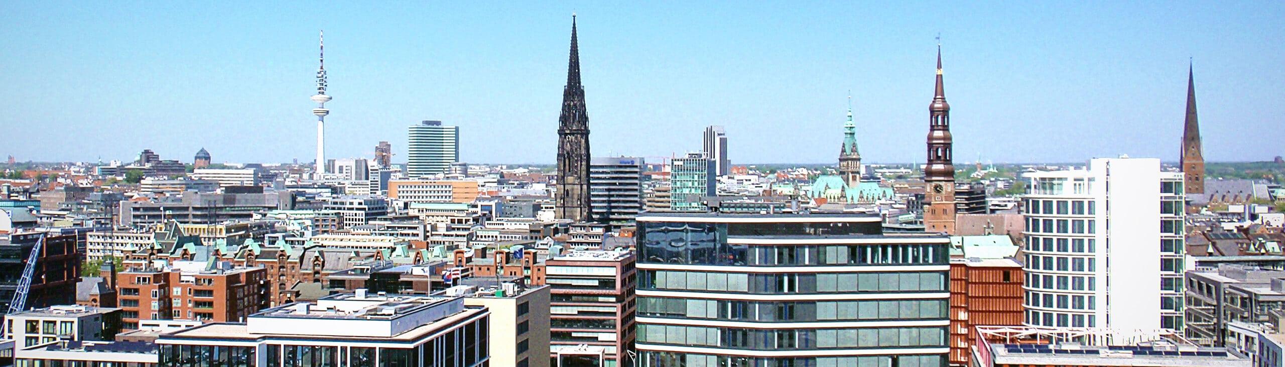 Silhouette von Hamburg, der Sitz der Kanzlei Hentschelmann